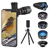 Handy Objektiv Linse Kit, Lens Set 22X Teleobjektiv, 25X Makro Objektiv, 0,62X Weitwinkel, 235° Fischaugenobjektiv für IOS iPhone und meisten Android Smartphone