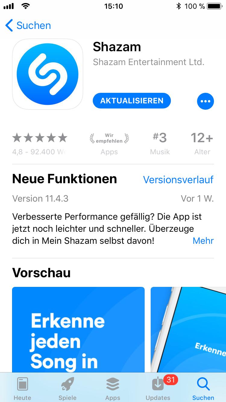 iPhone-Apps Auswahl Shazam