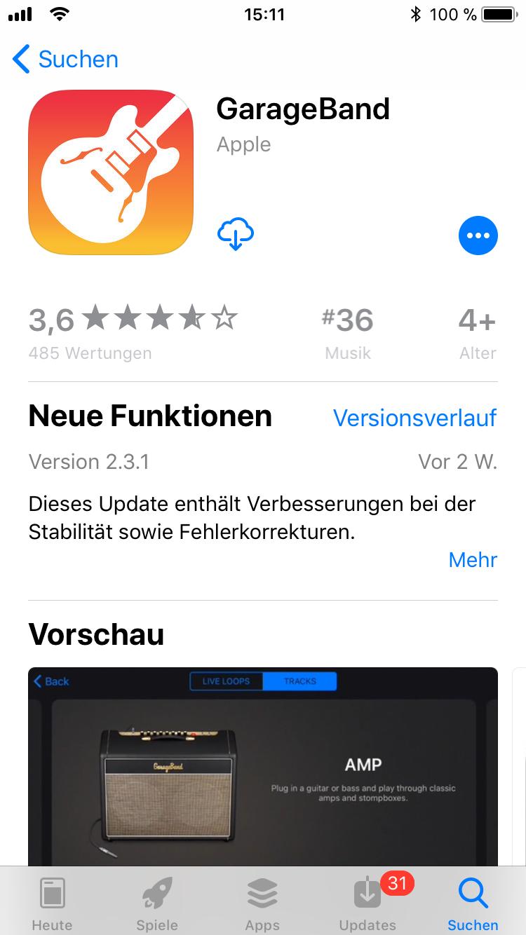 iPhone-Apps Auswahl GarageBand