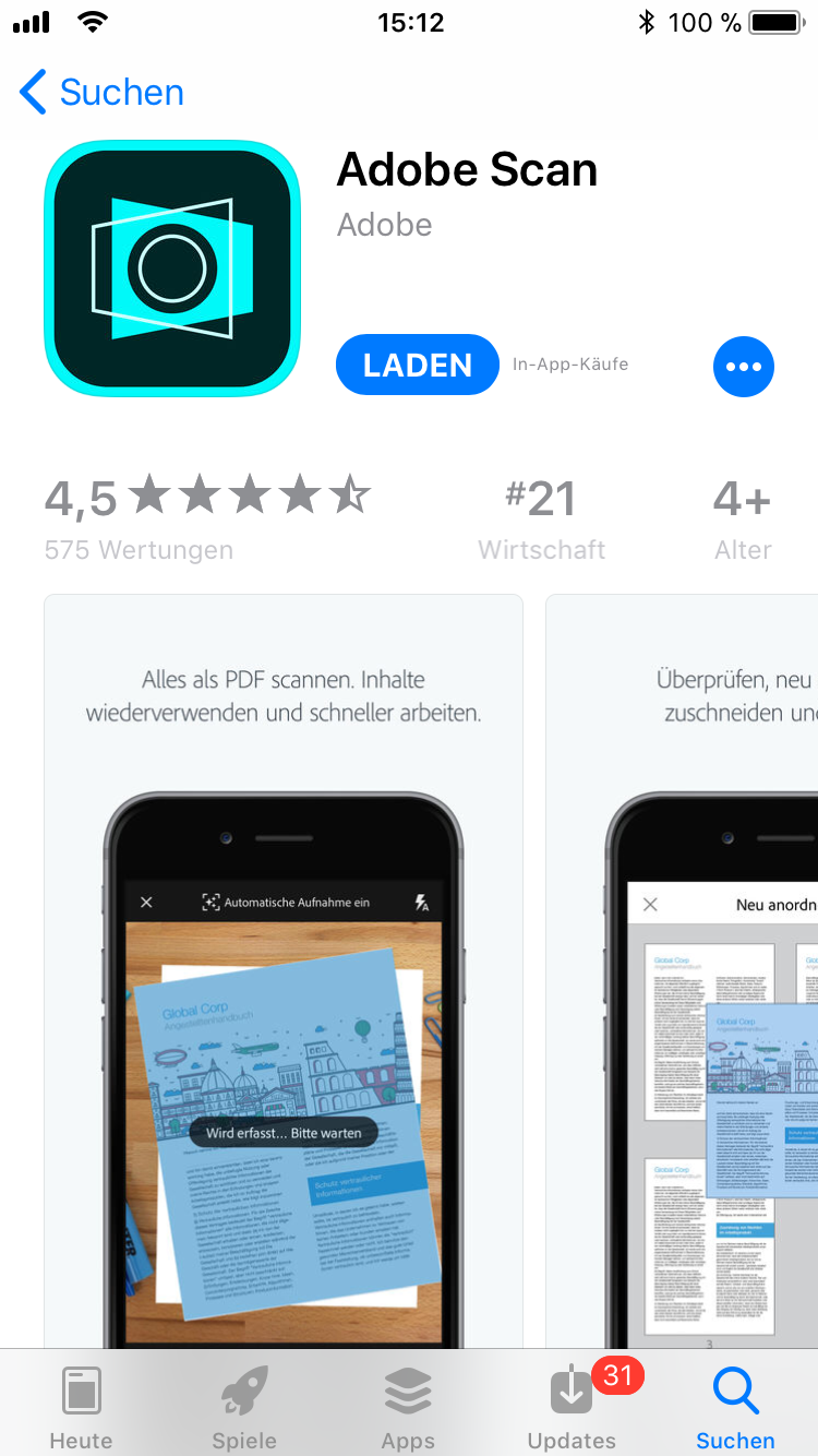 iPhone-Apps Auswahl Adobe Scan