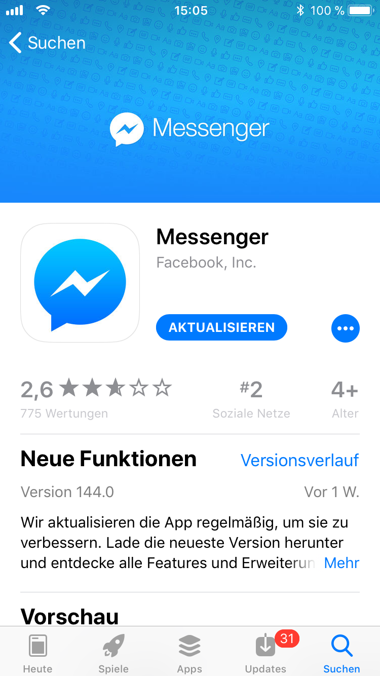 iPhone-Apps Auswahl Facebook Messenger