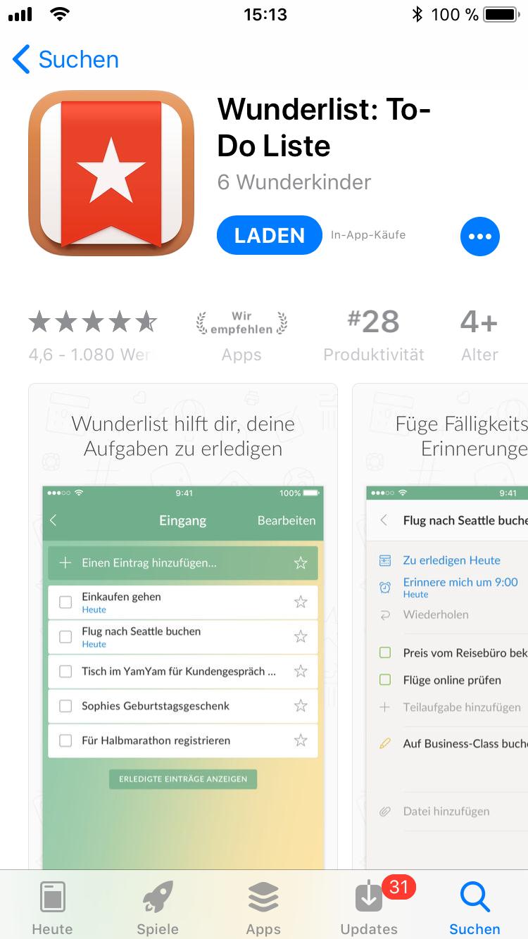 iPhone-Apps Auswahl Wunderlist