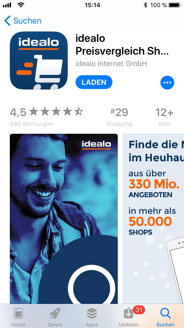 iPhone-Apps Auswahl idealo
