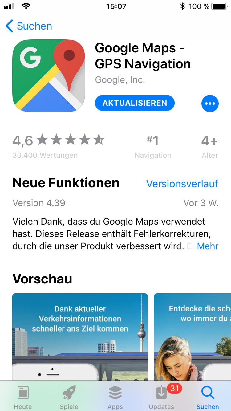 iPhone-Apps Auswahl Google Maps