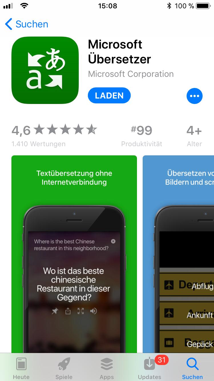 iPhone-Apps Auswahl Microsoft Übersetzer