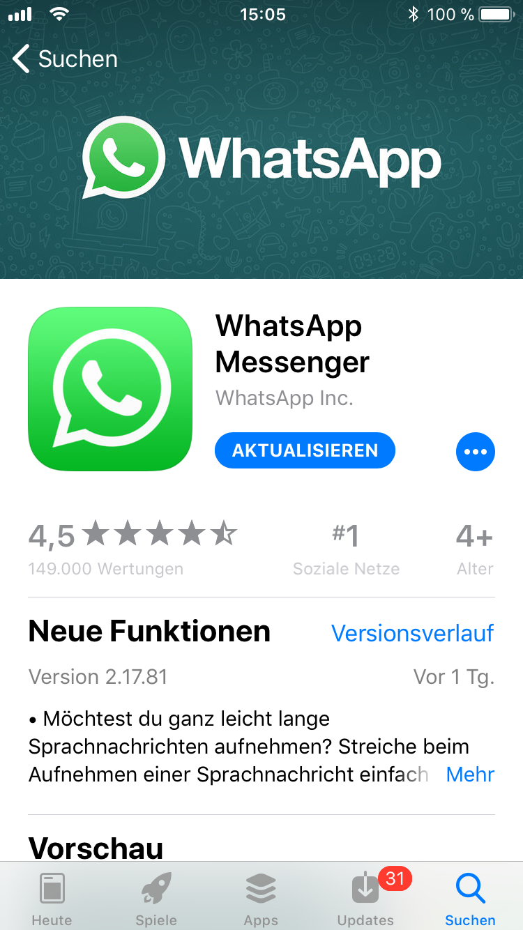 iPhone-Apps Auswahl WhatsApp