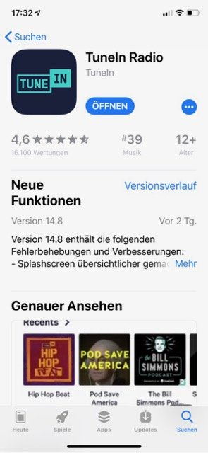 iPhone-Apps Auswahl TuneIn