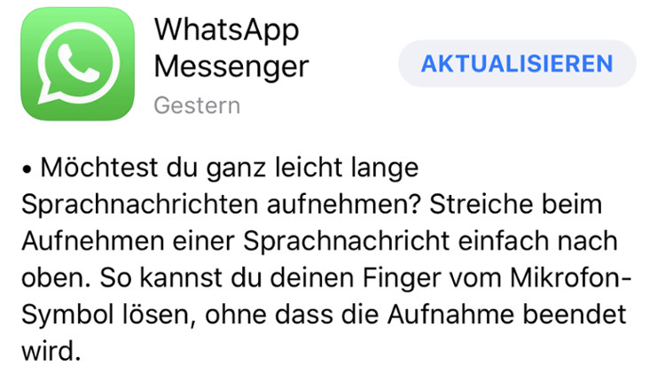 WhatsApp-Update iOS