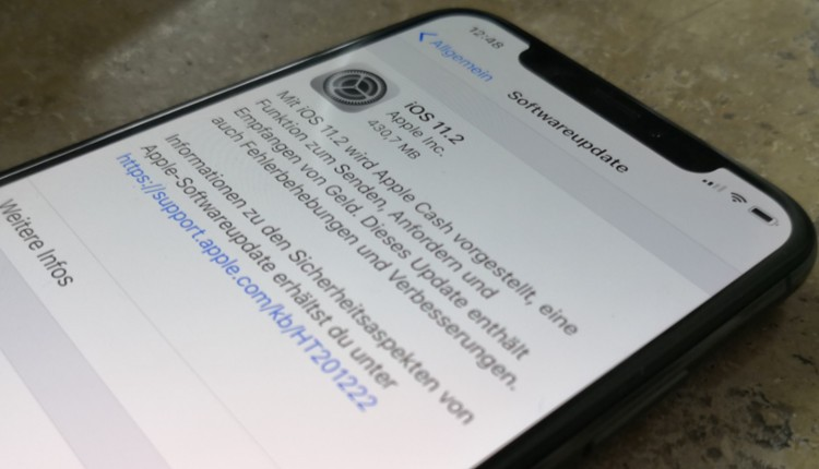Update iOS 11.2 beim iPhone X