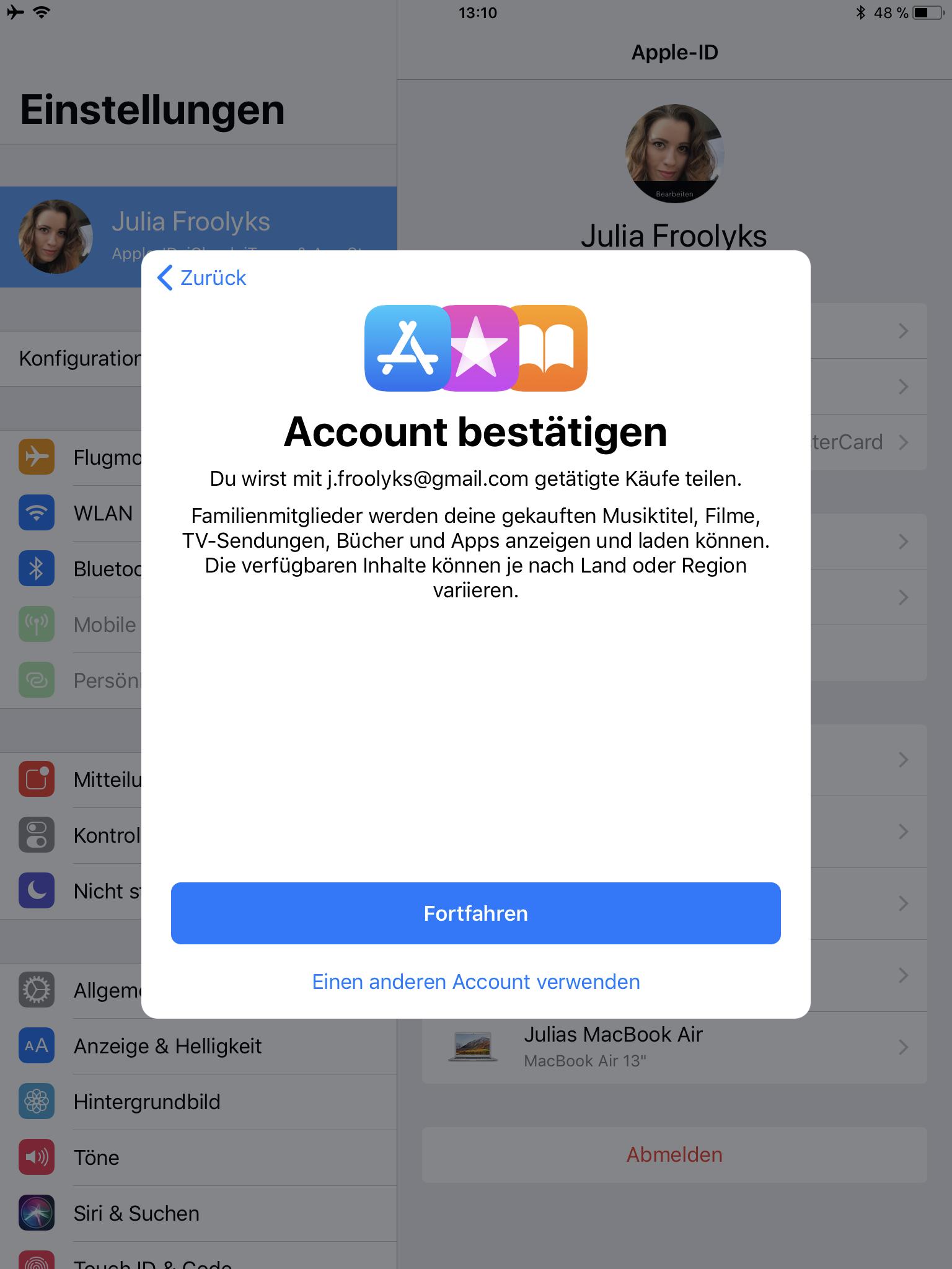 iCloud Familienfreigabe einrichten