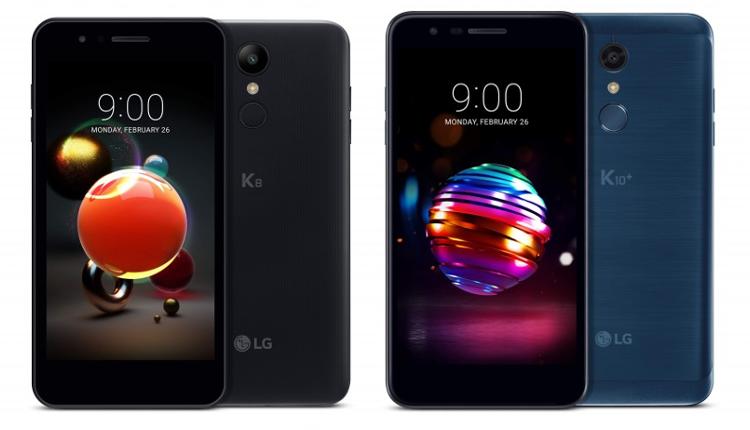 LG K8 und LG K10 in Schwarz und Blau