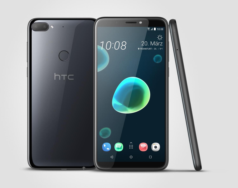 Schwarze Version des HTC Desire 12+ mit Dual-Kamera