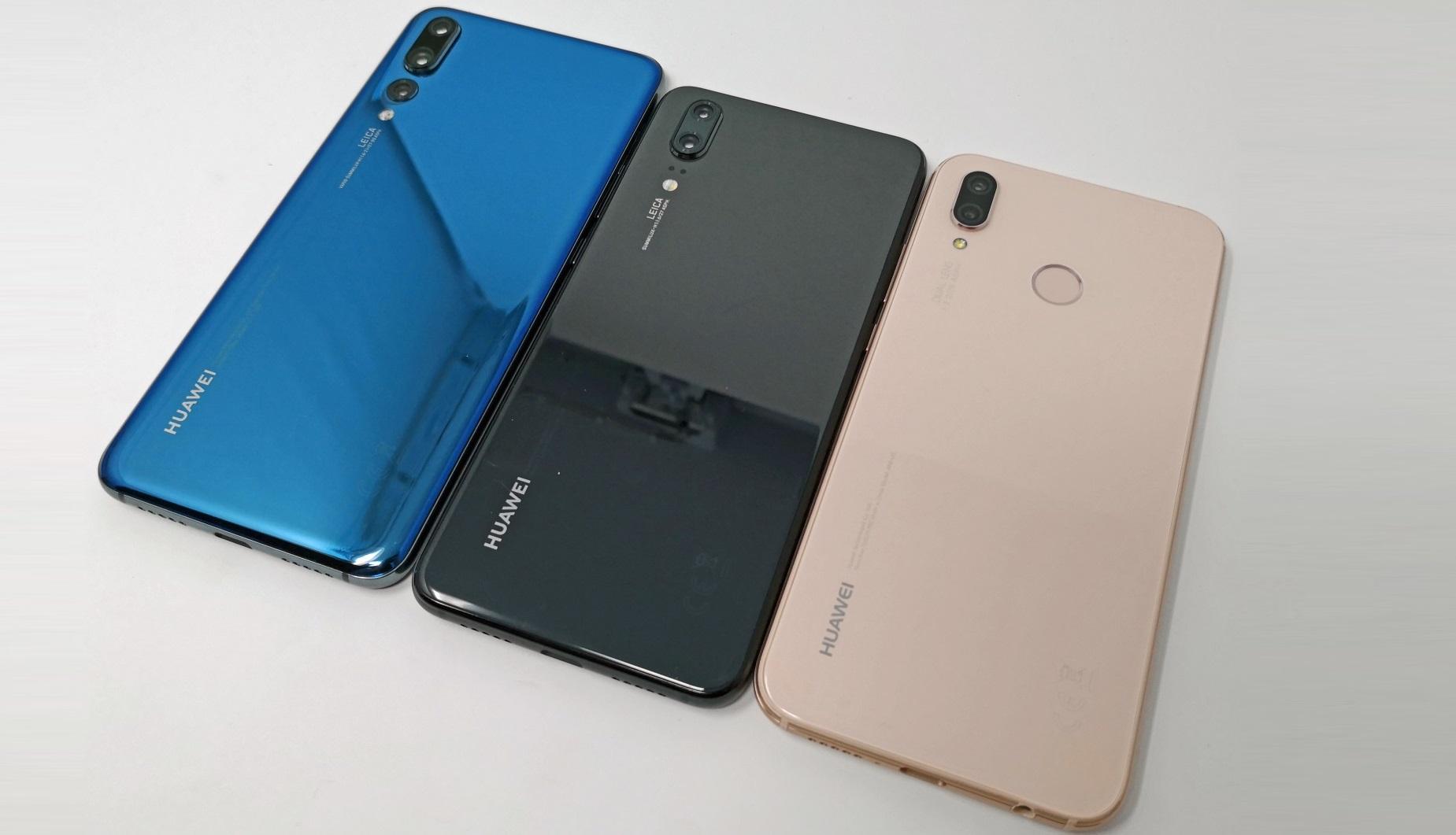 Von links nach rechts: Huawei P20 Pro, P20 und P20 lite