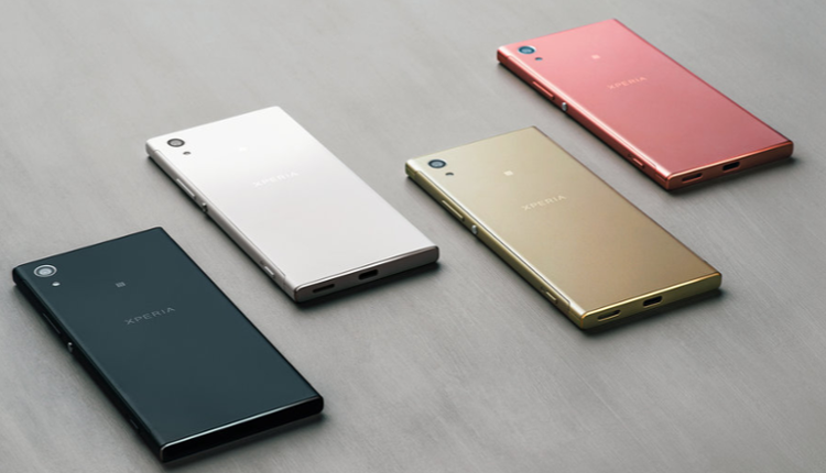 Das Sony Xperia XA1 auf der Rückseite in den Farben Schwarz, Weiß, Gold und Pink