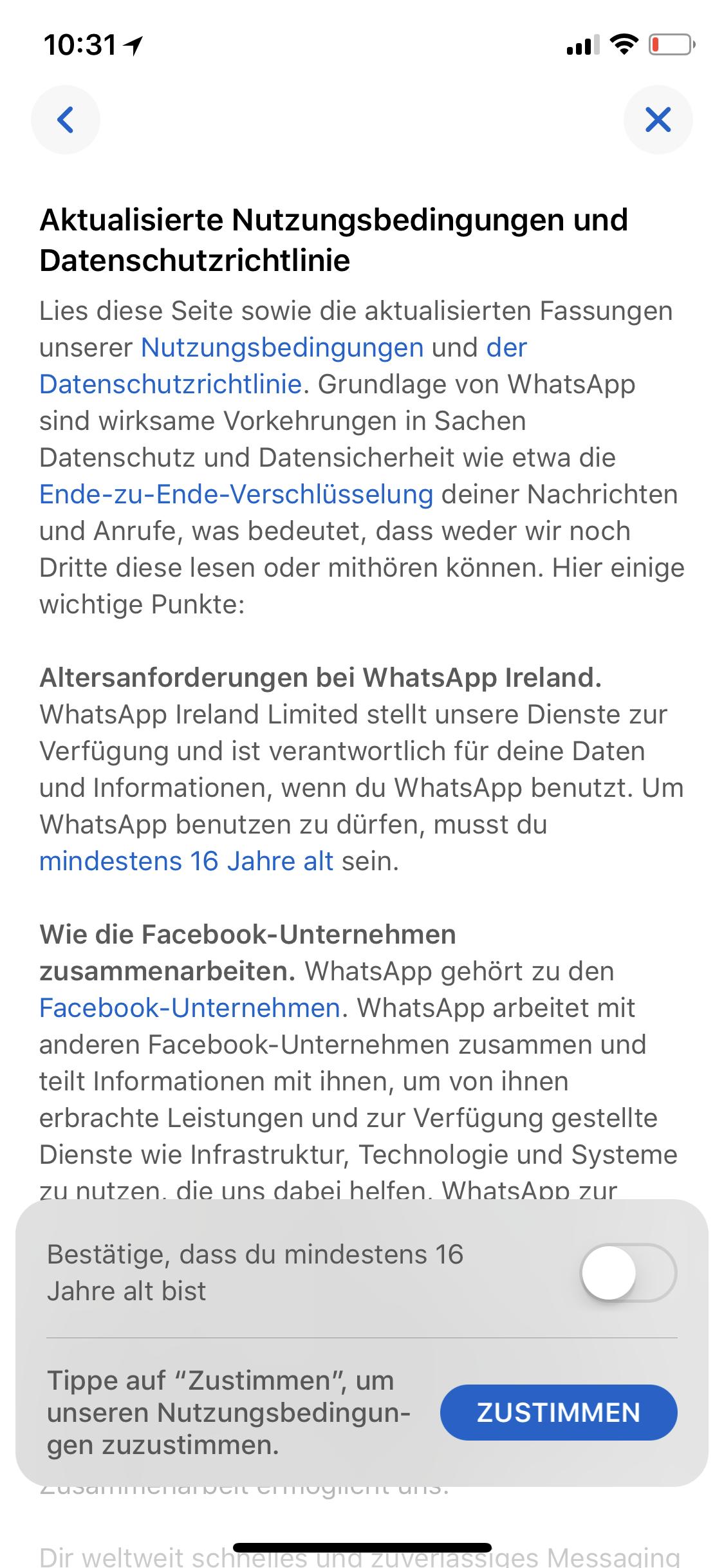 Whatsapp Altersfreigabe