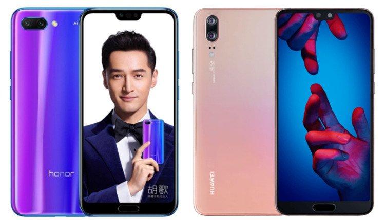Honor 10 und Huawei P20