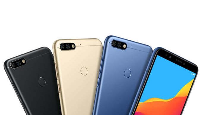 Honor 7C in drei Farben Blau, Gold und Schwarz