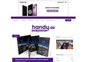 Werbung von Samsung auf handy.de, Galaxy S9 Q2 2018