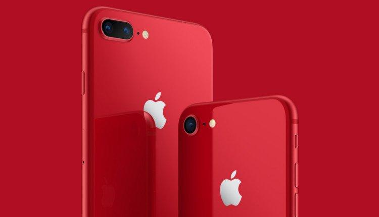 Rückseite des iPhone 8 und iPhone 8 Plus in Rot