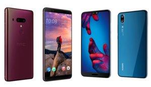 HTC U12+ Flame Red Huawei P20 Midnight Blue im Vergleich