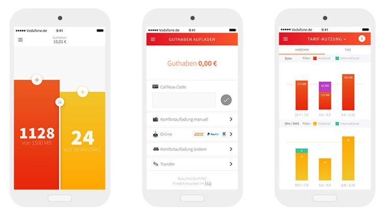 Screenshots der Vodafone CallYa Flex App