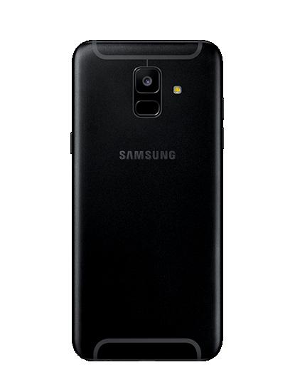 Das Galaxy A6 in Schwarz von hinten.