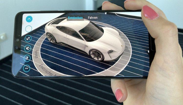Huawei P20 Pro mit Porsche Mission E:Ar App