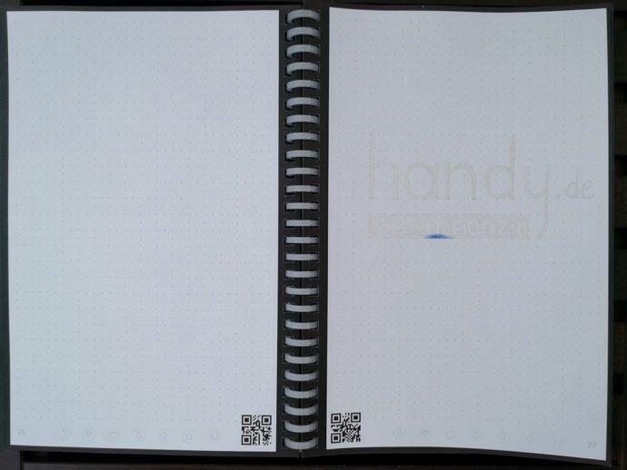 Das Rocketbook Wave nach der Mikrowelle: Logo gut zu erkennen