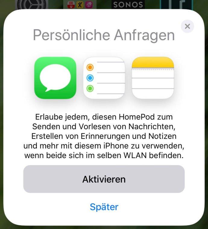 HomePod-Konfiguration Persönliche Anfragen