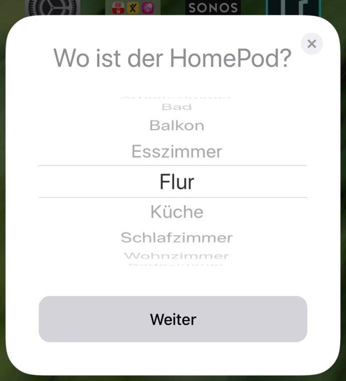 HomePod-Konfiguration Standort