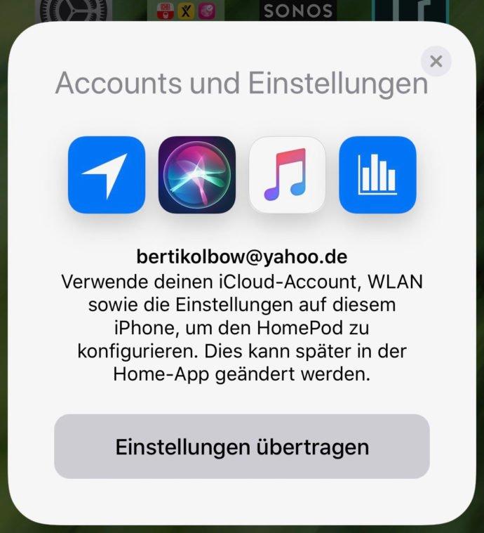 HomePod-Konfiguration iCloud