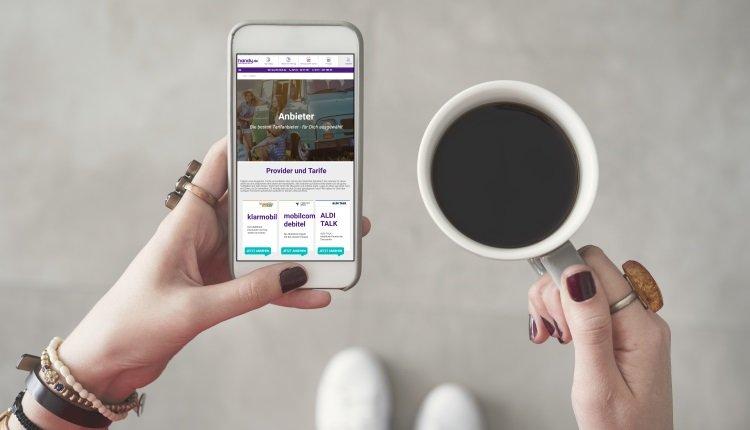 Webseite von handy.de auf einem Smartphone.