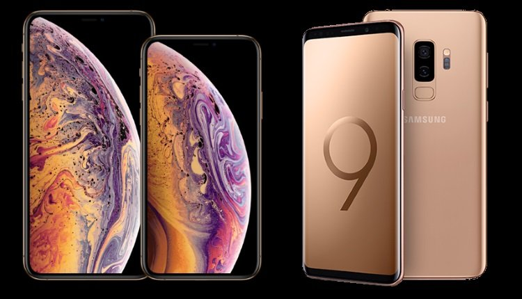 apple vs samsung iphone xs max und galaxy s9 s9 im. Black Bedroom Furniture Sets. Home Design Ideas