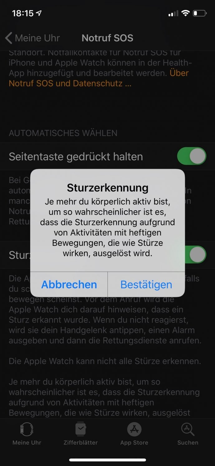 Apple Watch 4 Sturzerkennung
