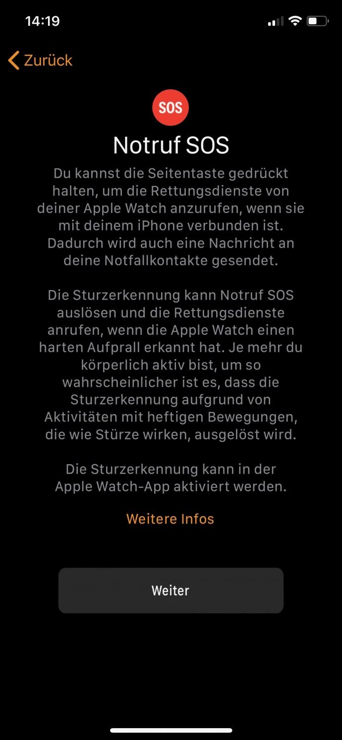 Apple Watch 4 Sturzerkennung Notruf SOS