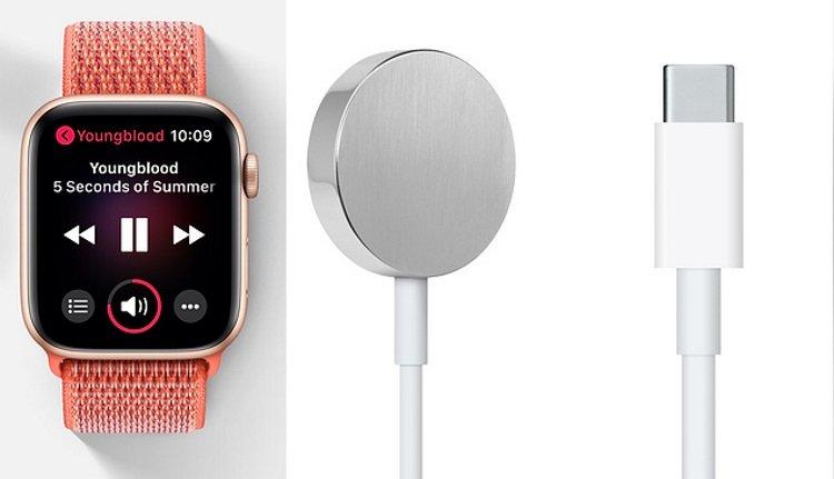Apple Watch mit Ladekabel mit USB-C-Stecker