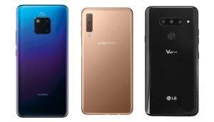 Drei Smartphones mit Triple-Kamera: Huawei Mate 20 Pro, Samsung Galaxy A7 und LG V40 ThinQ