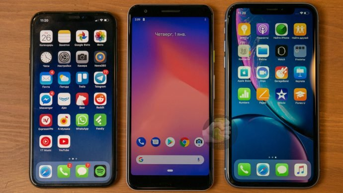 Google Pixel 3 Lite mit iPhone XS und iPhone Xr