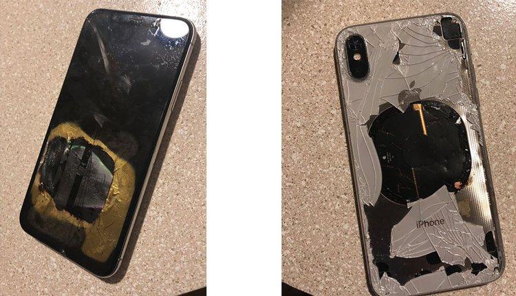 iPhone X mit starken Beschädigungen durch Hitze