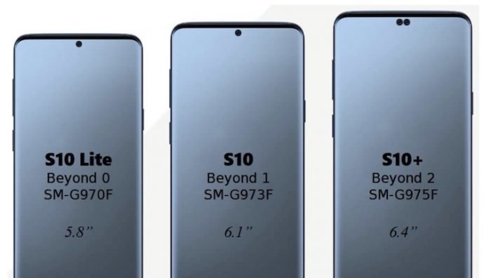 Samsung Galaxy S10-Serie in unterschiedlichen Größen