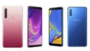 Vergleich Galaxy A9 (2018) Pink und Galaxy A7 (2018) Blau