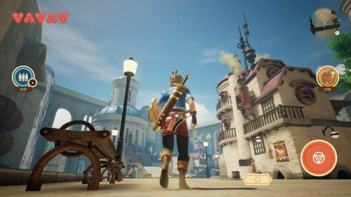 Der Held durchläuft eine Stadt