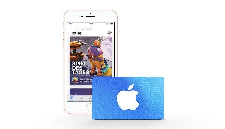 iPhone mit iTunes-Guthaben-Karte