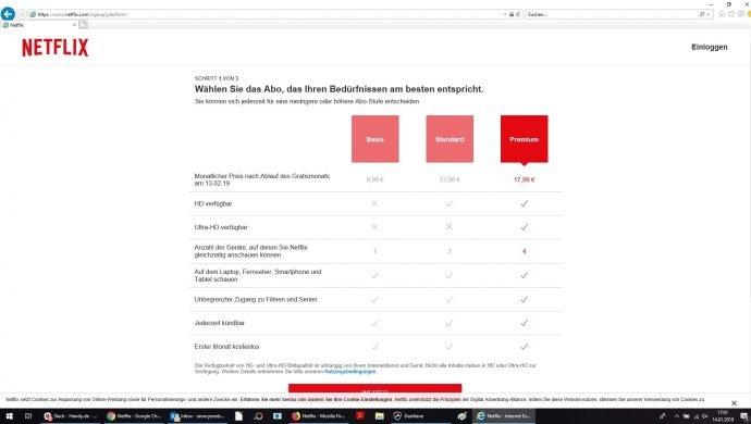 Netflix-Preise im Internet Explorer