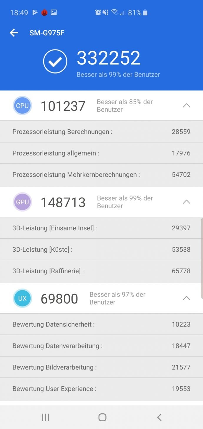 Galaxy S10+ im Test Antutu