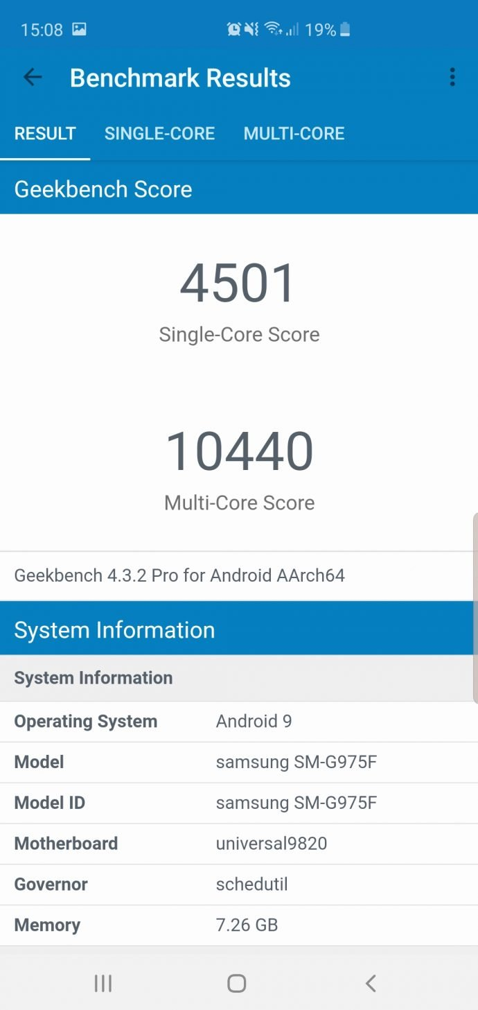 Galaxy S10+ im Test Geekbench