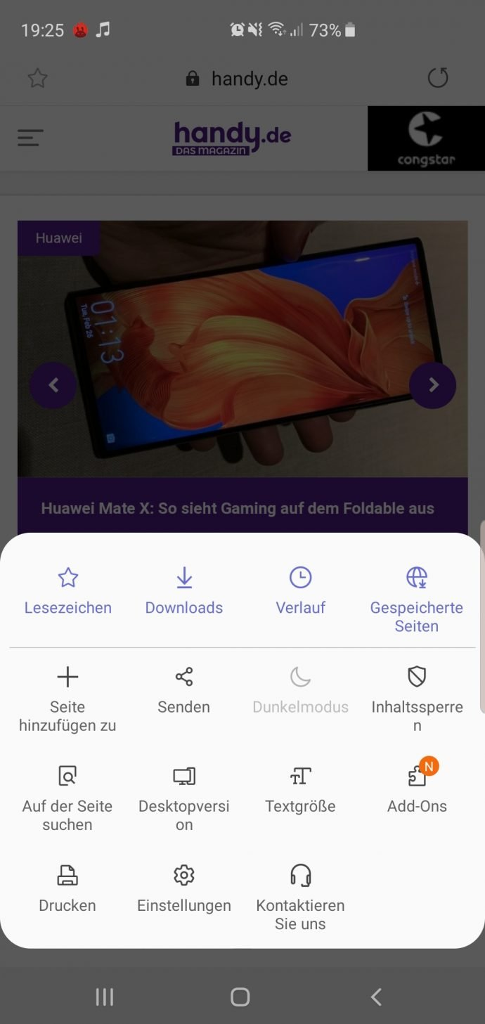 Galaxy S10+ im Test Samsung One UI Browser