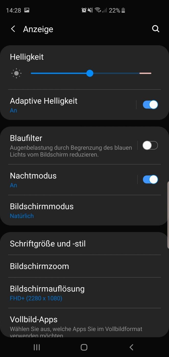 Galaxy S10+ im Test Samsung One UI Nachtmodus